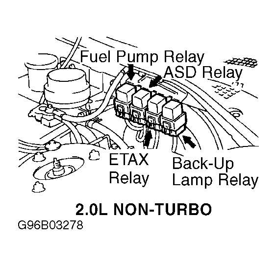 Fuel Pump Relay: Four Cylinder Two Wheel Drive Automatic