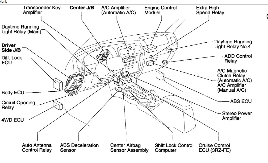 1999 toyota tacoma wiring diagram warn winch gears 4runner a/c relay location: i need to locate the ...