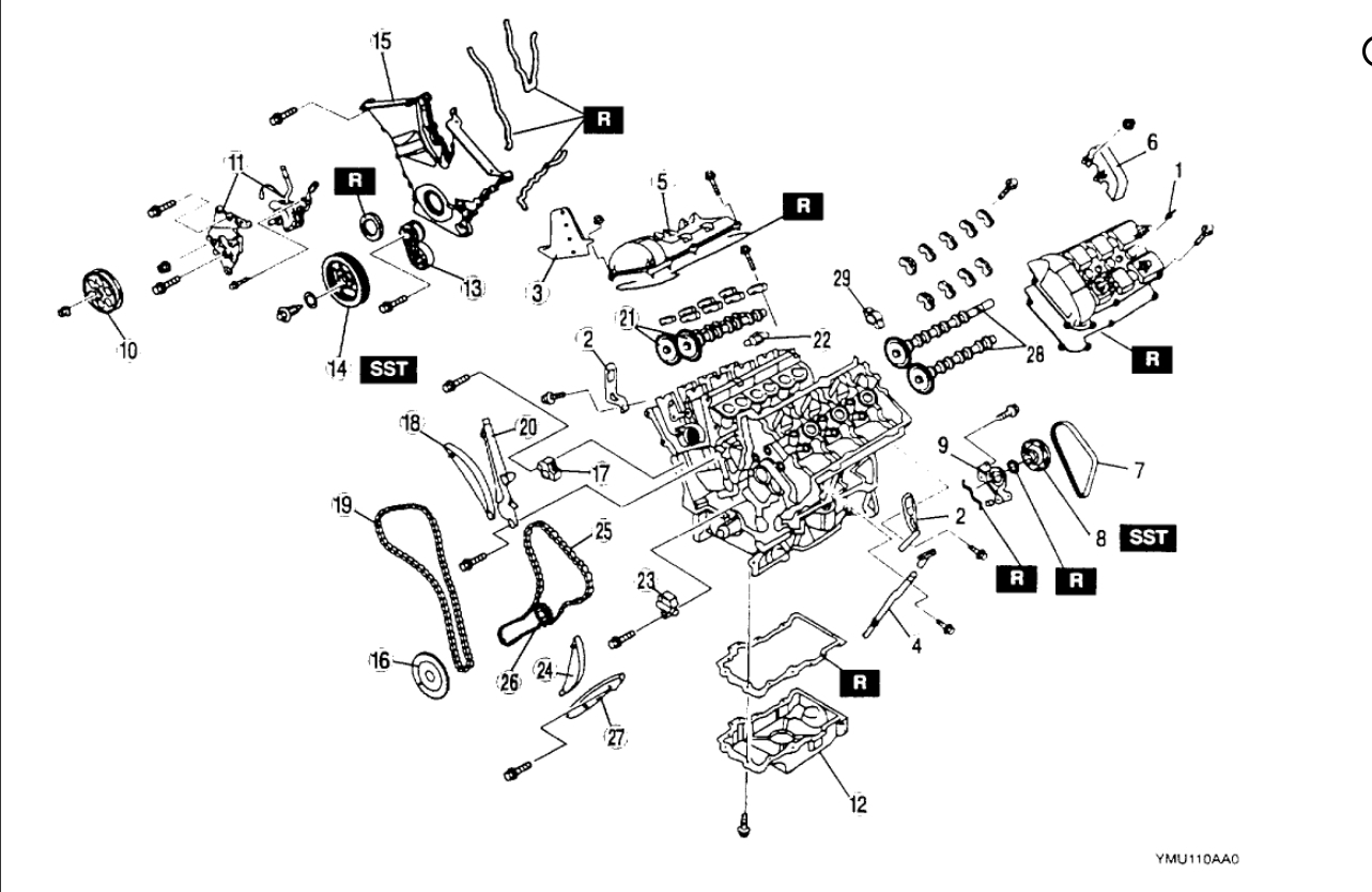 Timing Chain Diagram: Timing Chain Diagram for 2000 Mazda