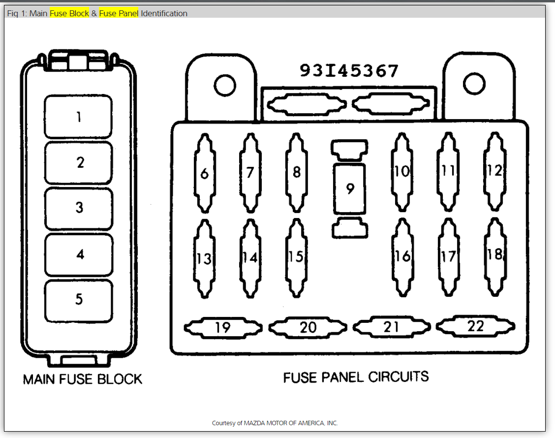 [WRG-2262] Fuse Box Diagram For 2000 Mazda B2500
