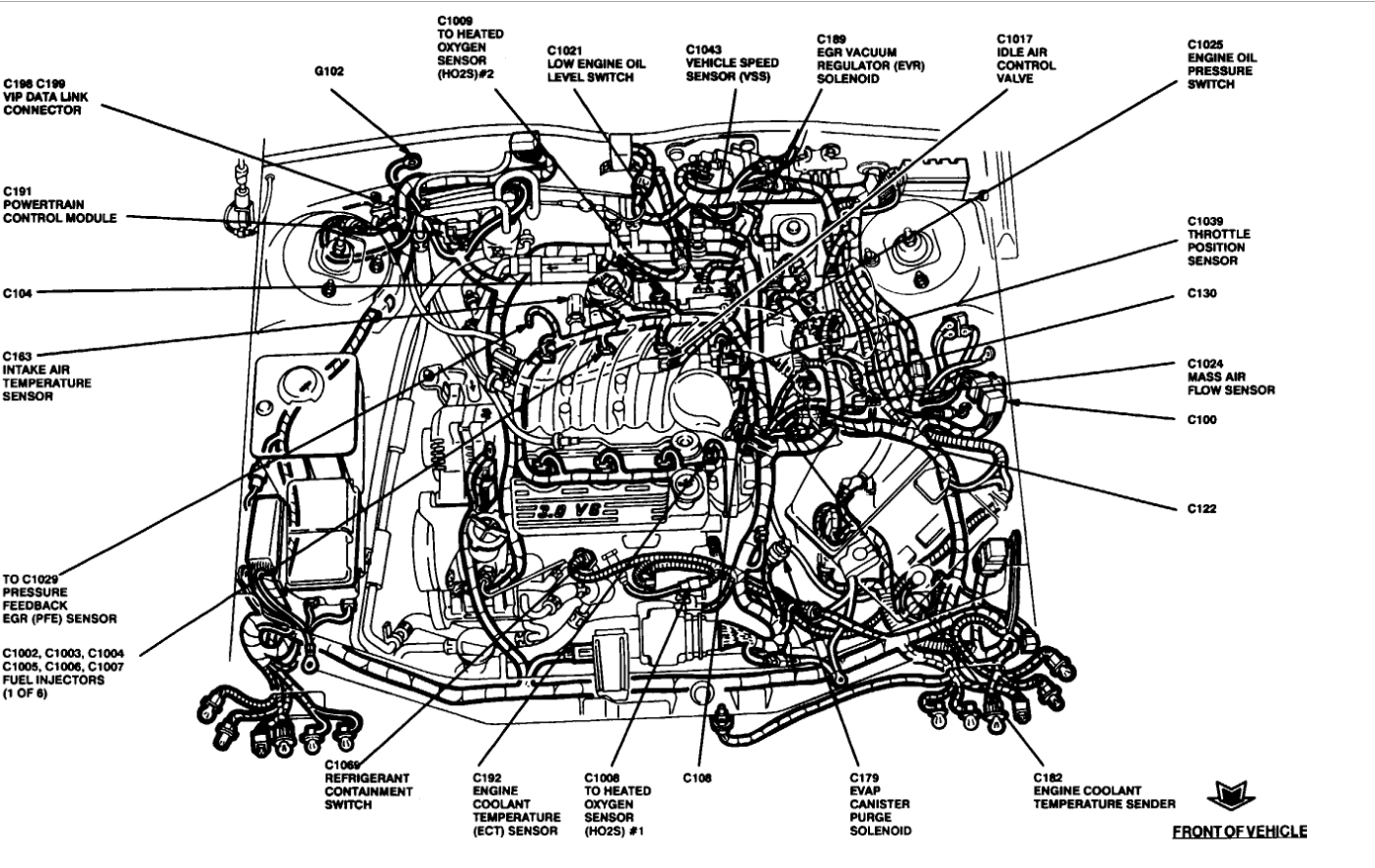 2001 ford taurus engine diagram 2002 f150 horn wiring coolant sensor location please where is the thumb