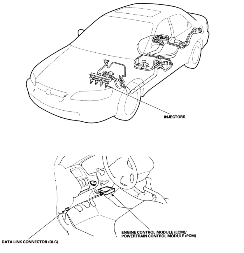 Check Light and Location of TCM: Four Cylinder Front Wheel