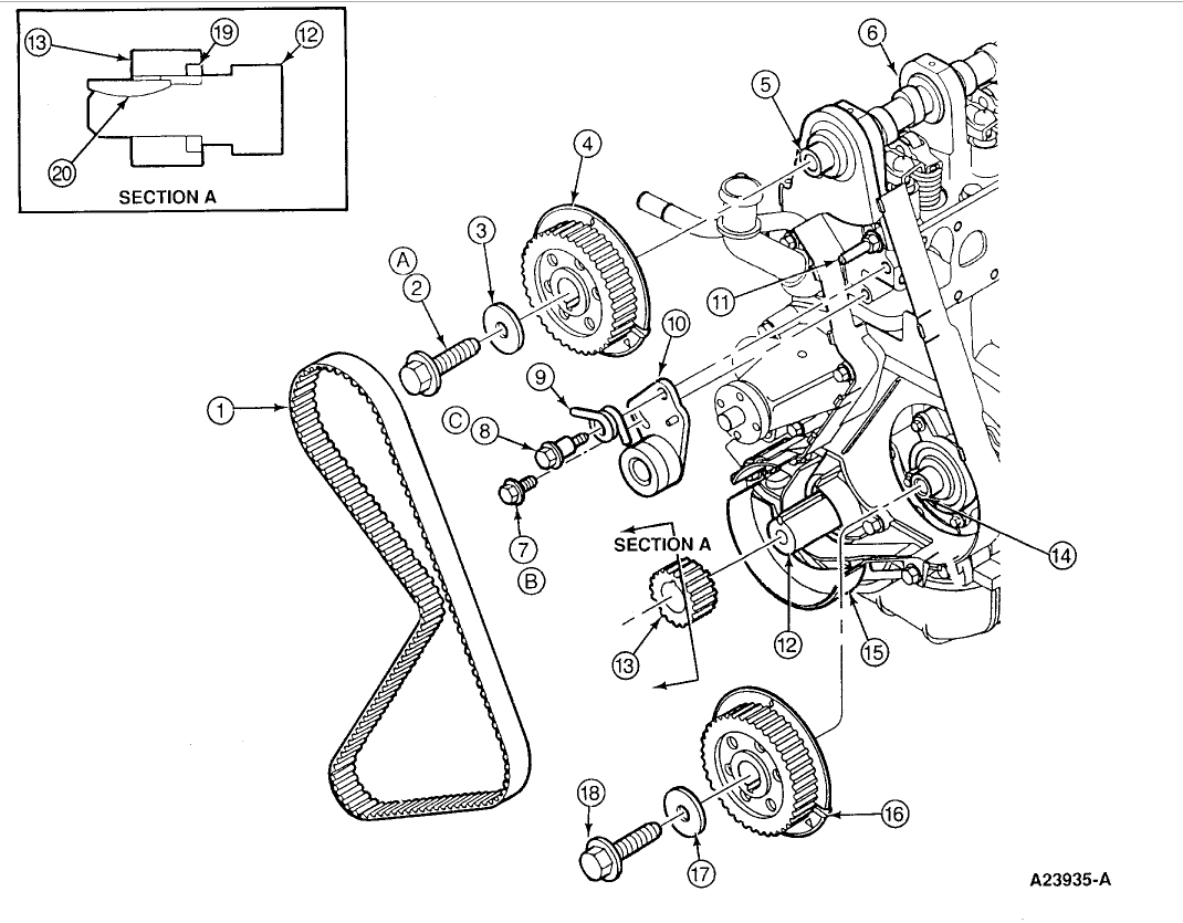 ford 2 3 timing diagram 2001 nissan altima fuse isuzu dohc engine trooper