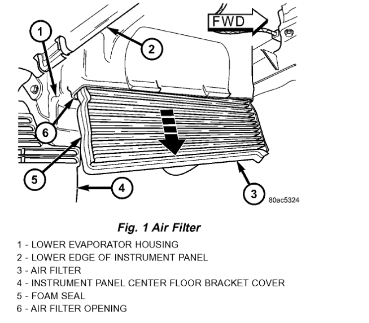 Cabin Filter Location: Six Cylinder Two Wheel Drive