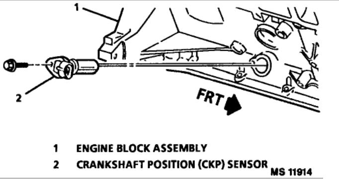Crank Sensor Location: 1995 Pontiac 3100 V6 Crank Sensor