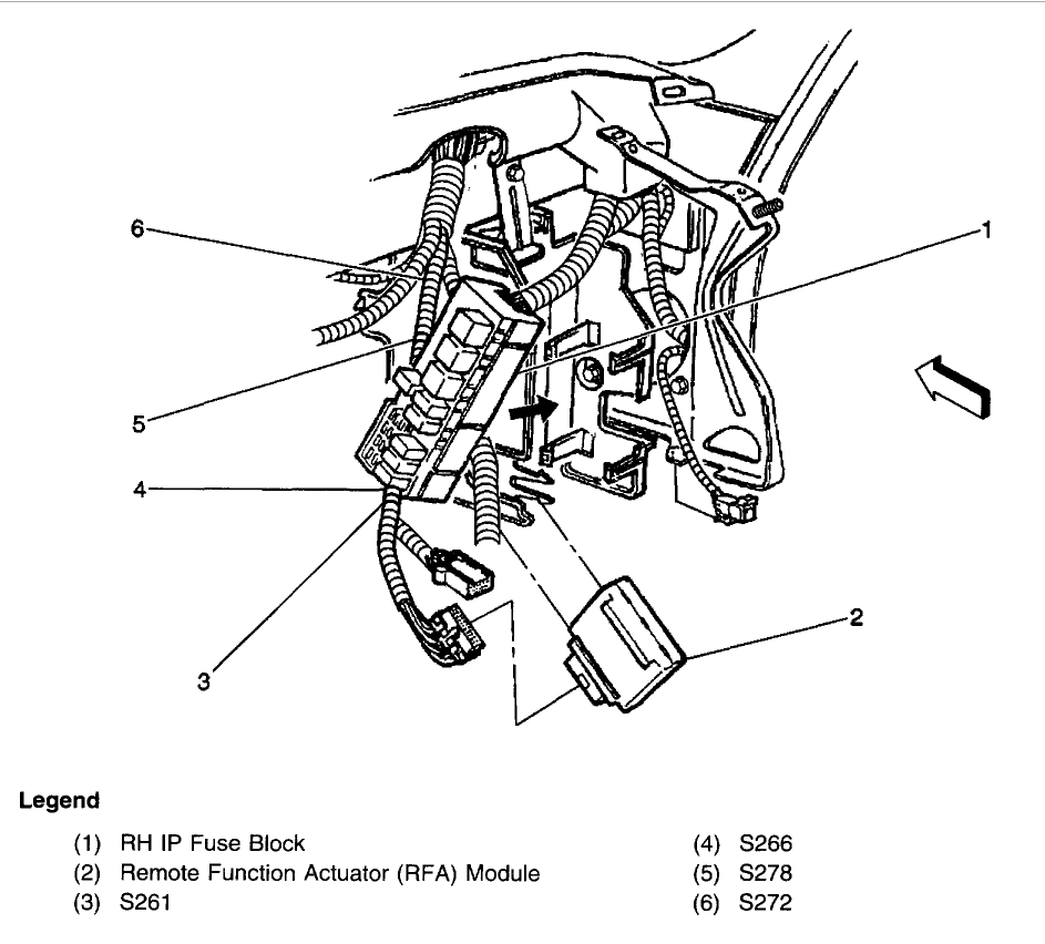 Where Is Fuel Pump Relay: 6 Cyl Front Wheel Drive 100500