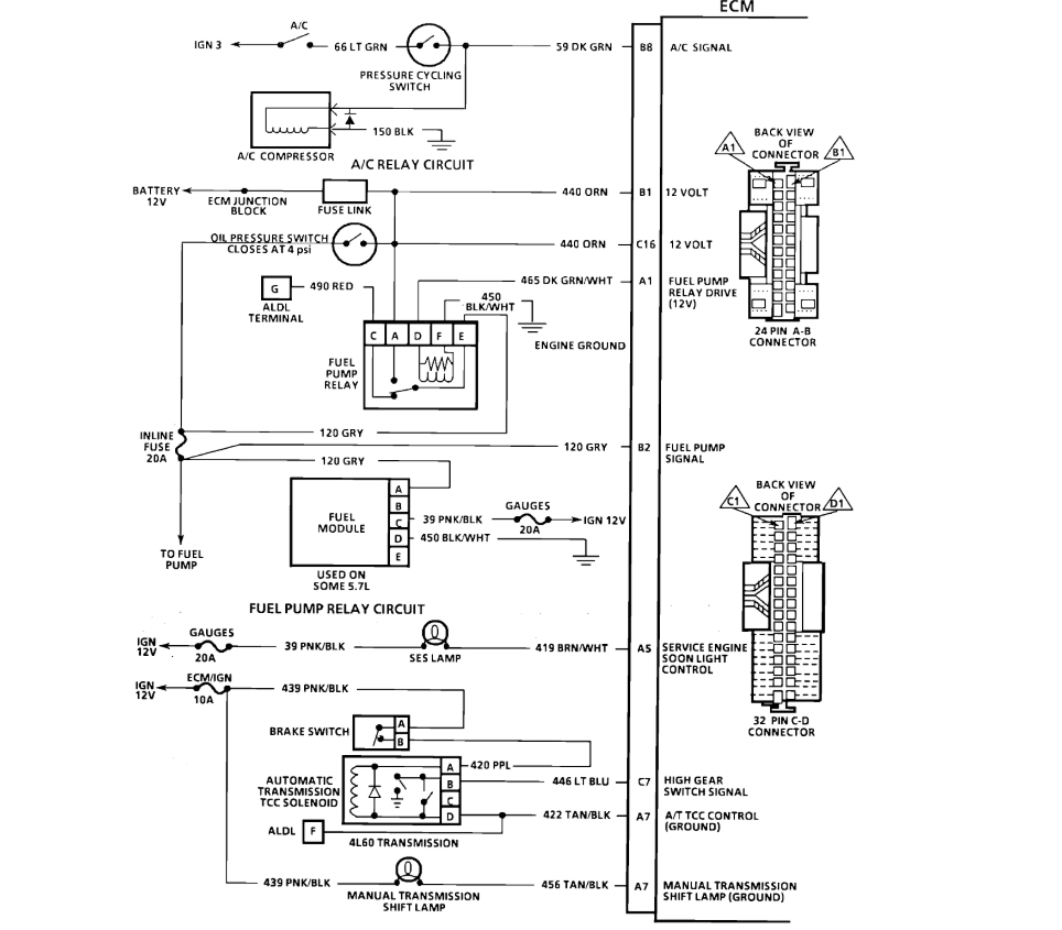 91 Chevy Ecm Wiring Diagram No Pulse To Injectors Chevrolet K1500 Getting Spark To