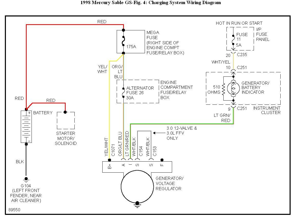 97 ford taurus dohc alternator wiring diagram