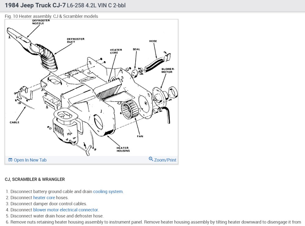 medium resolution of heater core replacement i have 84 cj7 with 258 6cyl how are the79 cj5 heater diagram