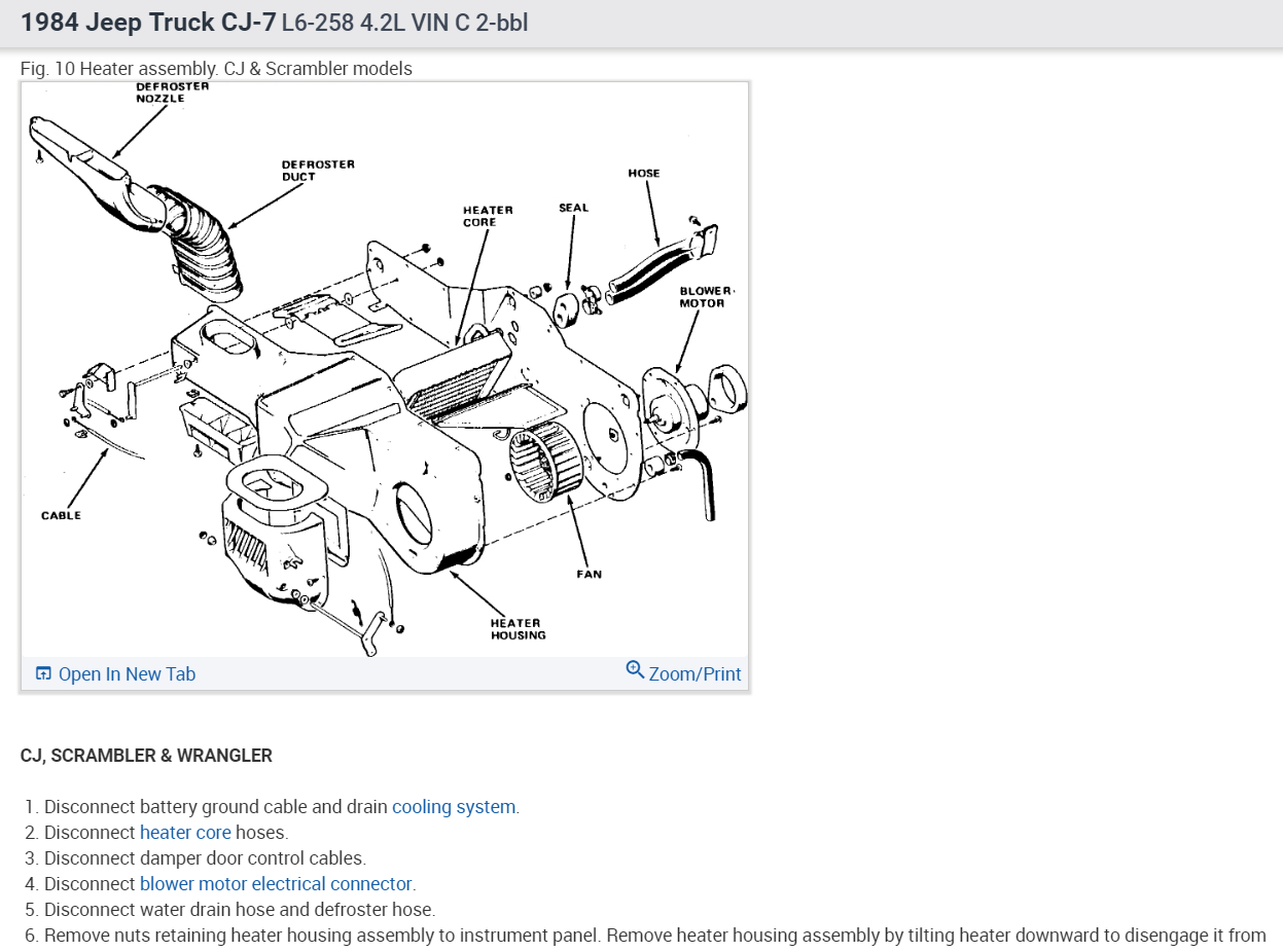 hight resolution of heater core replacement i have 84 cj7 with 258 6cyl how are the79 cj5 heater diagram