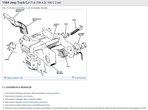 small resolution of heater core replacement i have 84 cj7 with 258 6cyl how are the79 cj5 heater diagram