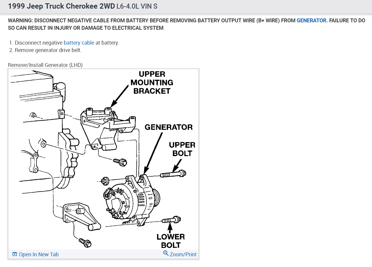 Jeep Cherokee Alternator Wiring Diagram