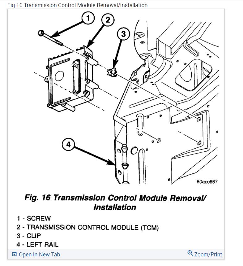 Dodge Caravan Transmission Control Module Location : If I