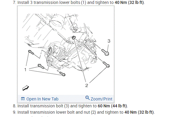 Needing the Transmission to Engine Bolt Torque Specs