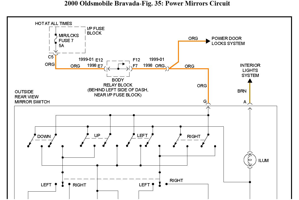 hight resolution of thumb electric adjusting side view mirrors do not move thumb 2002 oldsmobile bravada fuse diagram