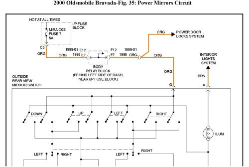 small resolution of thumb electric adjusting side view mirrors do not move thumb 2002 oldsmobile bravada fuse diagram