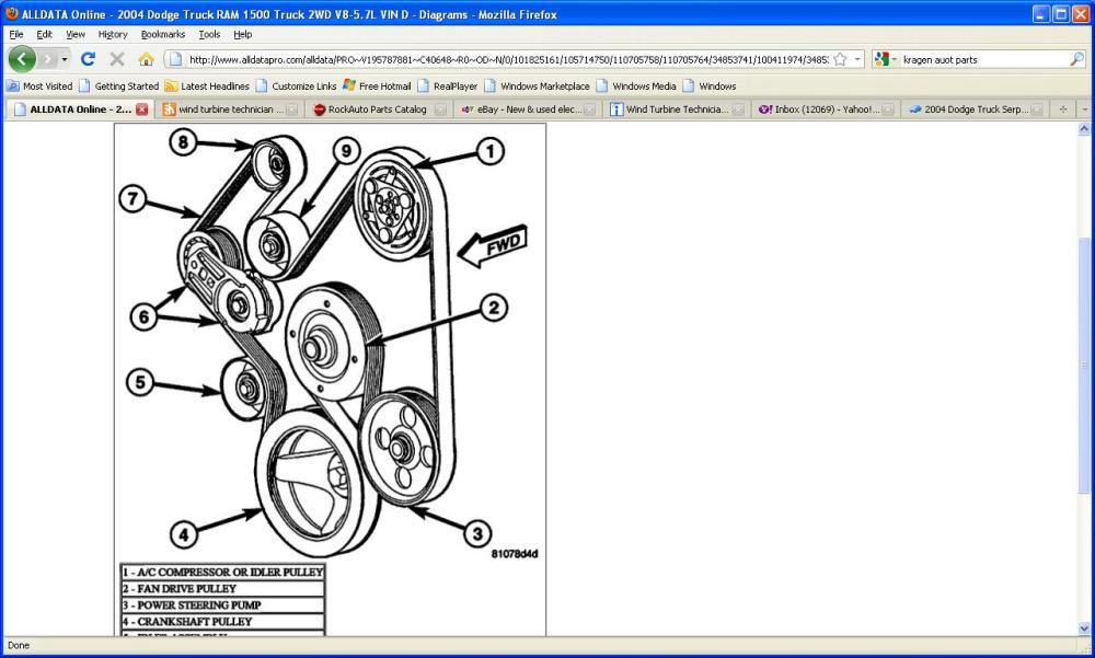 medium resolution of 2011 dodge ram 2500 serpentine belt diagram