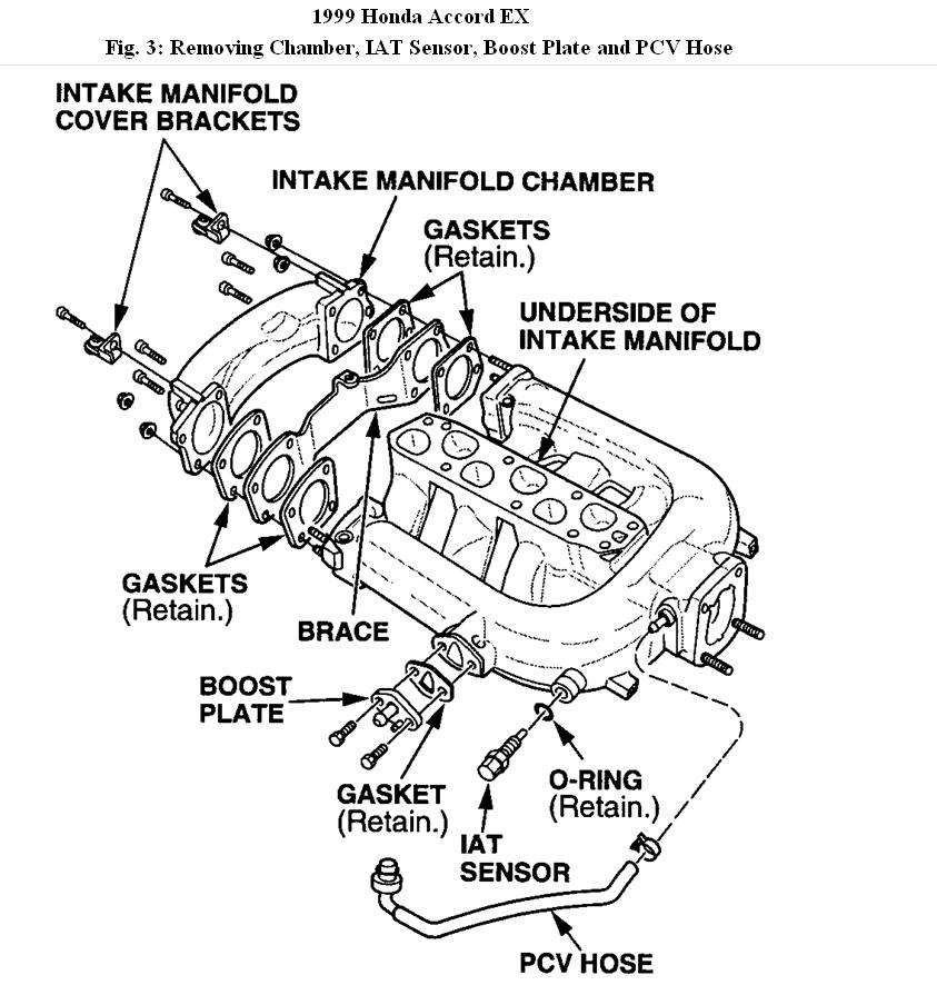 1999 Honda Accord Upper Intake Manifold Diagram: Engine