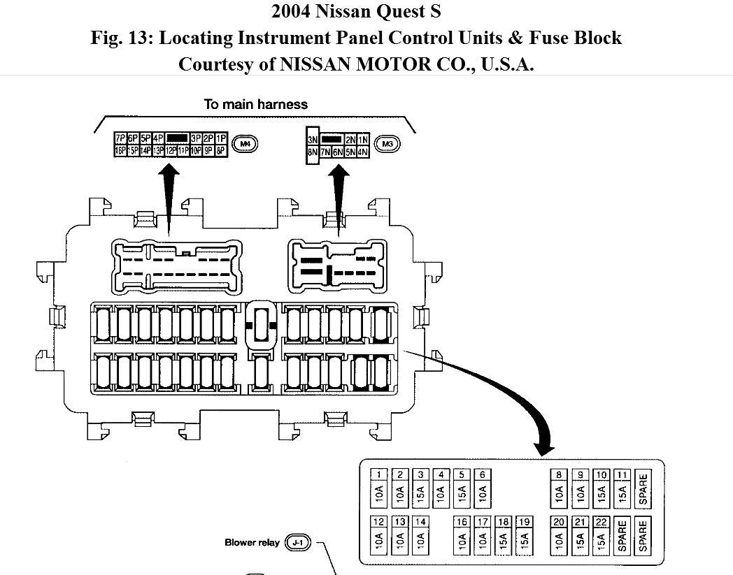 2004 Nissan Sentra Harness Fuse Box Diagram