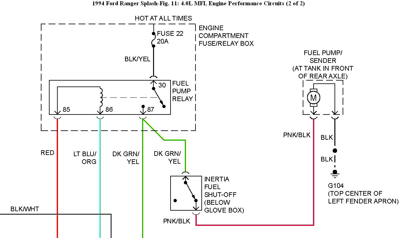 hight resolution of fuel pump wiring fuel pump replaced no power to it 94 ford ranger fuel pump relay 1994 ranger fuel pump wiring