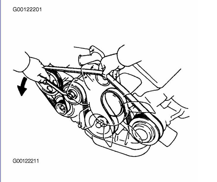 Serpentine Diagram of a 1999 Toyota Tacoma 2.4 L Manuel
