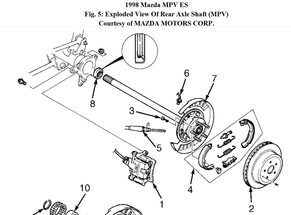 Service manual [1996 Mazda Mpv Rear Differential Axle Seal