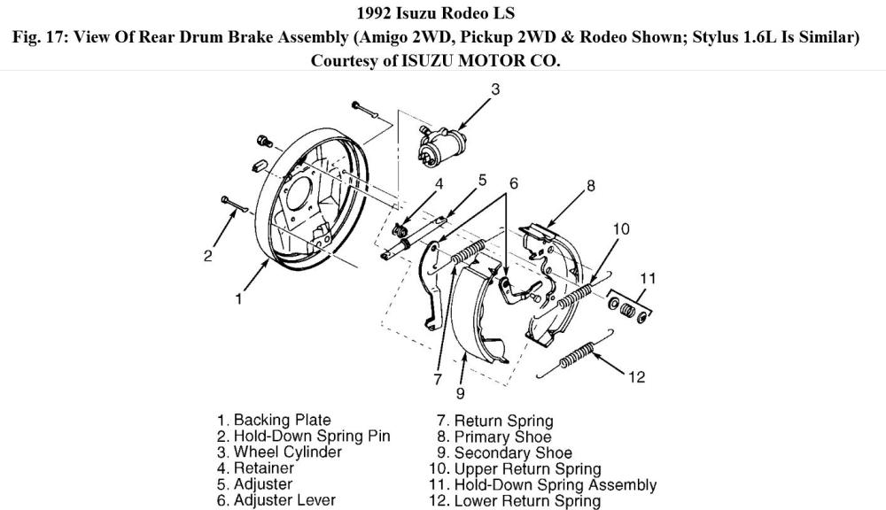 medium resolution of need to replace rear wheel cylinder is there a trick to removing isuzu rodeo wheel diagram
