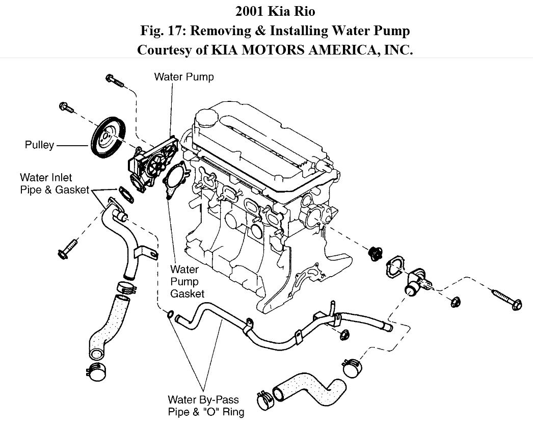 Water Pump Diagram 2003 Kia Rio. Kia. Auto Parts Catalog