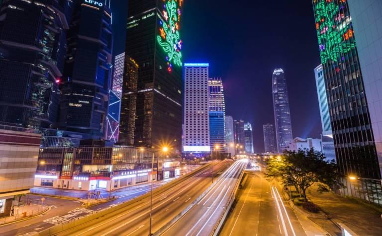 Hongkong Strassen bei Nacht