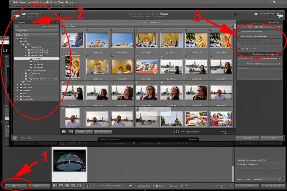 Come usare Lightroom Importare foto 2 Cuori in Viaggio