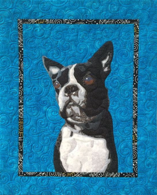 Quilted pet portrait, boston terrier portrait