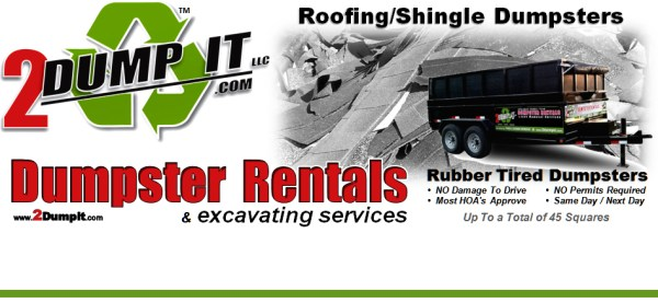 2 DUMP IT Dumpster Rentals - Roofing / Shingle Dumpster St Louis MO