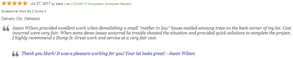 2 DUMP IT Excavating Services Customer Review