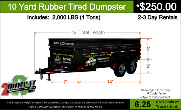 10 Yard Rubber Tired Dumpster Price