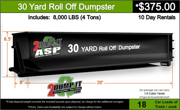 30 Yard Roll Off Dumpster Rental