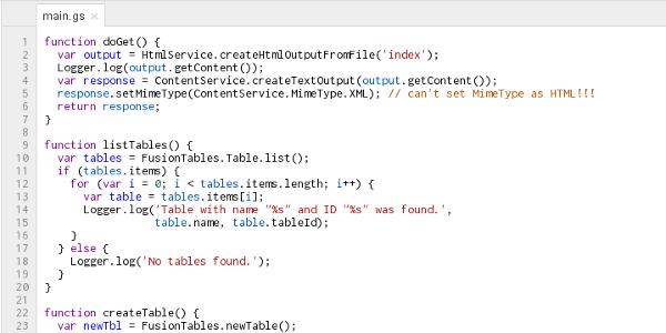 Code in the Google Apps Script editor