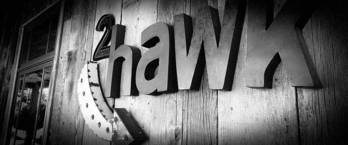 2Hawk Vineyard and Winery Exterior Tasting Room 2Hawk Arrow Signage (Grayscale)