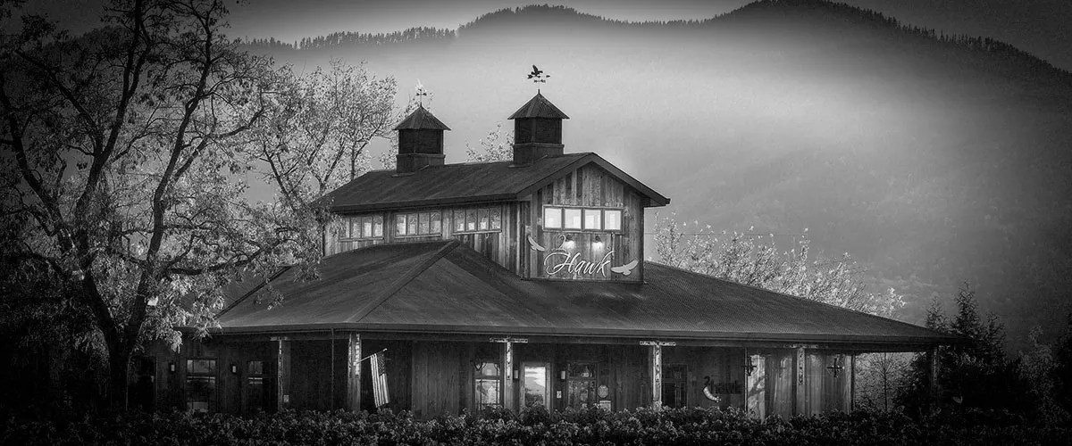 2Hawk Vineyard and Winery Tasting Room and Vineyard with Mountains (Grayscale)