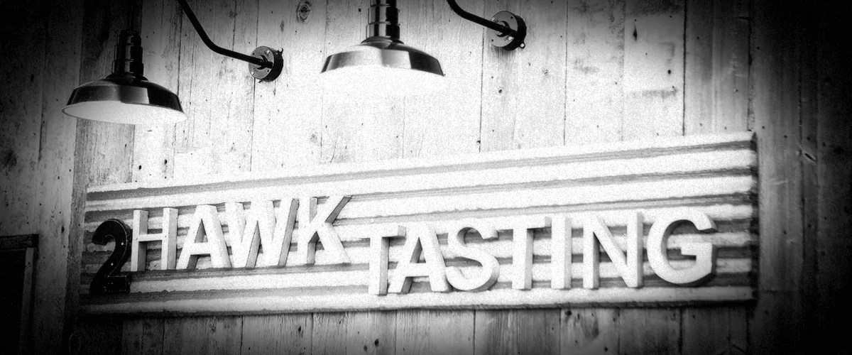 2Hawk Vineyard and Winery 2Hawk Tasting Signage with Lights (Grayscale)