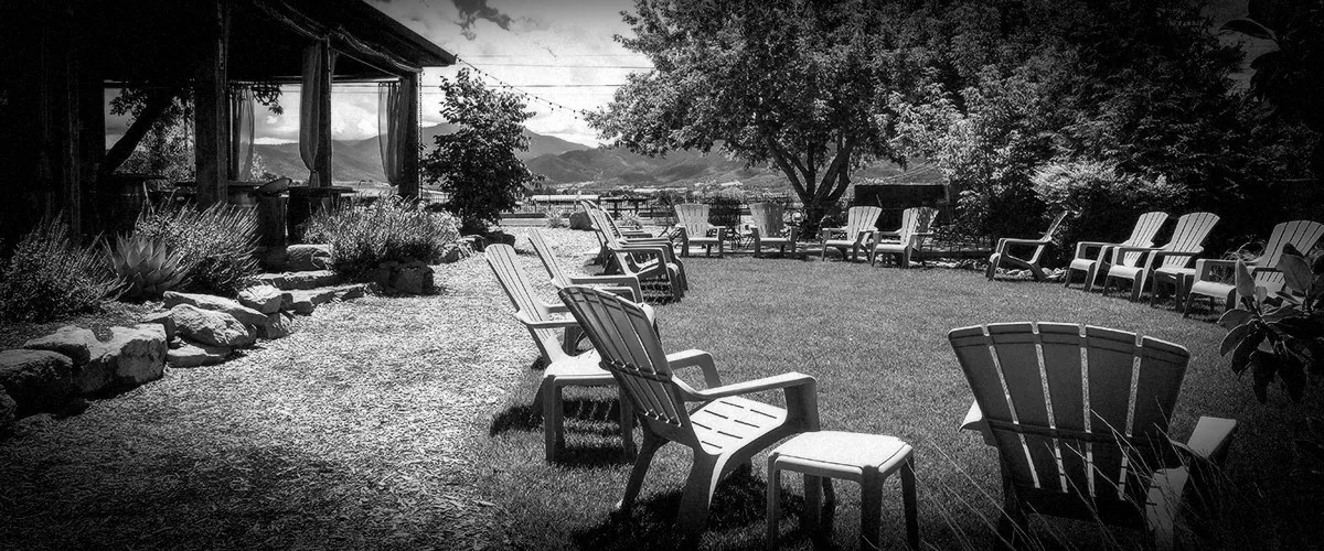 Lawn Chairs Set up for Outdoors Event at 2Hawk Vineyard and Winery (Grayscale)
