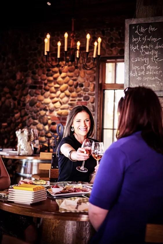Ladies Toasting in 2Hawk Vineyard and Winery Tasting Room