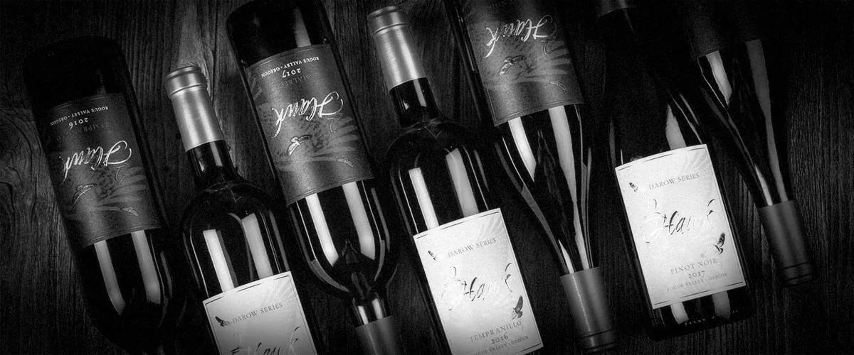 2Hawk Vineyard and Winery Wine Angled Bottles (Grayscale)