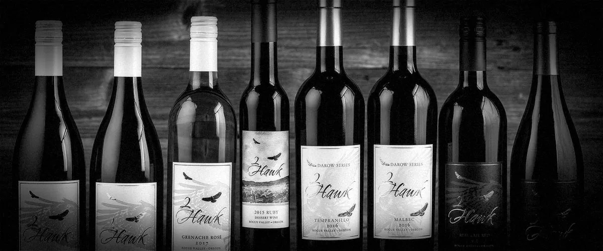 2Hawk Vineyard and Winery Wine Bottles Lineup Fall 2018 (Grayscale)