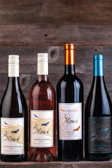 2Hawk Vineyard and Winery Sauvignon Blanc 2017, Grenache Rose 2017, Malbec 2016, and Pinot Noir 2017