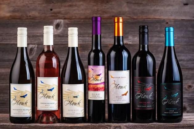 2Hawk Vineyard and Winery Wine Bottles Lineup Fall 2018