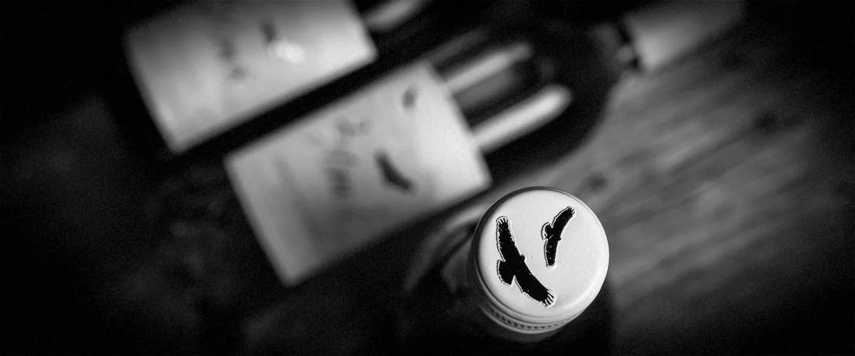 2Hawk Vineyard and Winery Wine Bottle Top with 2 Blurred Bottles (Grayscale)