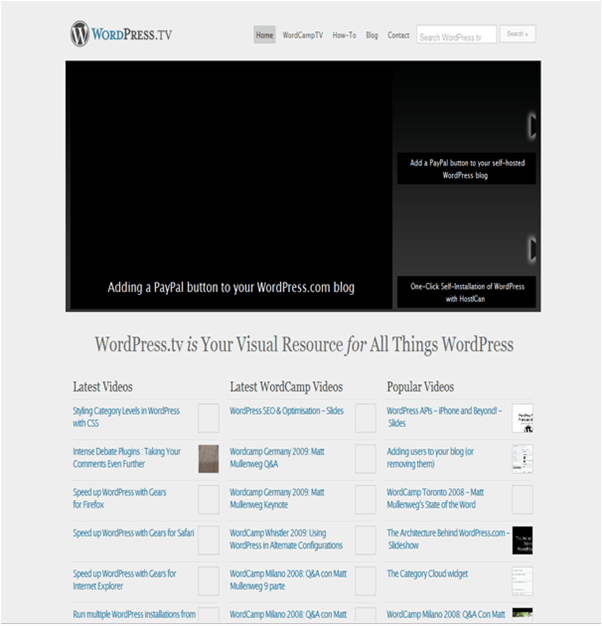 Home Page of WordPress.tv