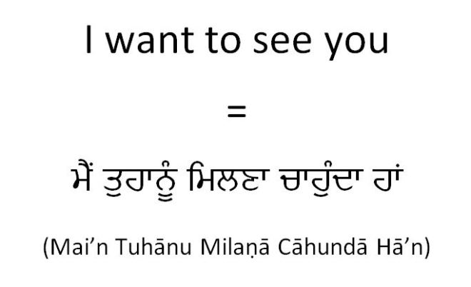 How to say I want to see you in Punjabi