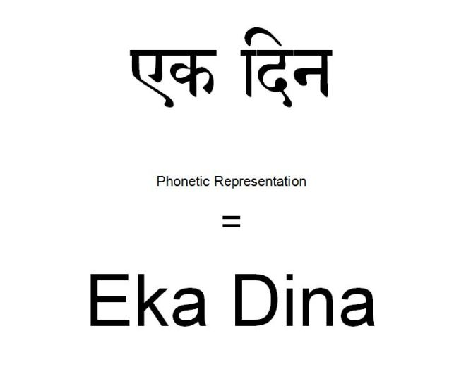 How to say one day in Hindi