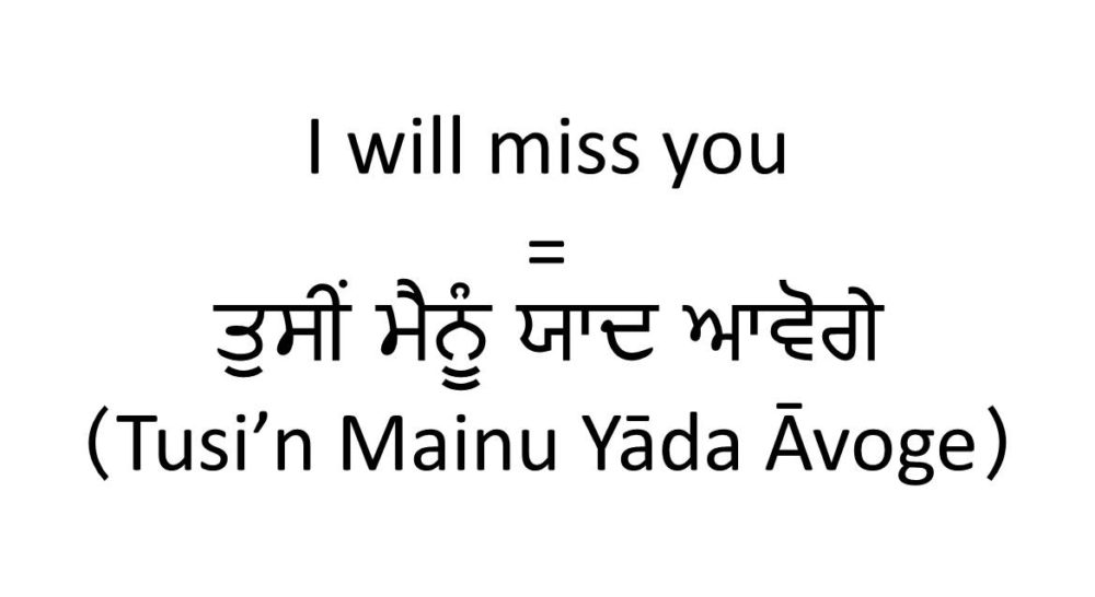 How To Say I Will Miss You In Punjabi